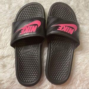Nike Black and Pink Slides